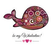 Vector a baleia cor-de-rosa e a rotulação seja meu Valentim Imagens de Stock Royalty Free