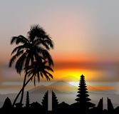 Vector Bali skyline. With temples and three volcanos on sunset sky Royalty Free Illustration