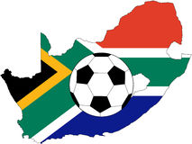 Vector of ball with flag of South Africa. Vector of soccer ball with flag of South Africa royalty free illustration