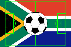 Vector of ball with flag of South Africa. Vector of soccer ball with flag of South Africa stock illustration