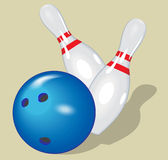 Vector ball. Realistic illustration. Bowling  and pins. Royalty Free Stock Image
