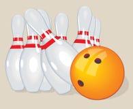 Vector ball. Realistic illustration. Bowling  and pins. Stock Photo