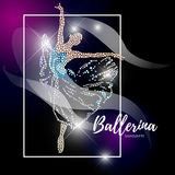 Vector ballerina silhouette  on black background. Dancing lady figure. Rhinestone pattern. Crystal jewelry young girl portrait, ballet illustration picture Royalty Free Stock Photography