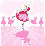 Vector ballet dancer. Ballet vector dancer in pink romantic tutu on stage with a line of dancers in background Stock Image