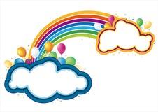 Vector ballons en regenboog Stock Afbeelding