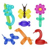 Vector balloon animals and flower set. Vector balloon animals set with dog, giraffe, swan, monkey, fish, butterfly and flower. Toy balloon animals and flower for vector illustration
