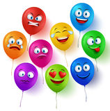 Vector balloon faces colorful set with funny facial expressions Stock Photography