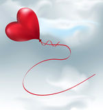 Vector  balloon-hearts flying in the sky Royalty Free Stock Image