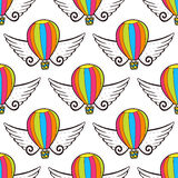 Vector balloon seamless pattern with wings. Bright wrapping paper or kids design decoration Stock Photography