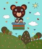 Vector of Balloon Teddy Bear with Two Girl in The Sky Royalty Free Stock Image