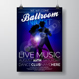 Vector Ballroom Night Party Flyer design with couple dancing tango on dark background Royalty Free Stock Image