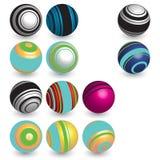 Vector balls. Vector various striped 3d balls set Royalty Free Stock Images