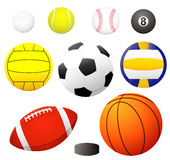 Vector Balls. Collection. EPS8 file available! golf, tennis, baseball, billiard, water polo, soccer, voleyball, football, hockey, basket Stock Images