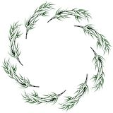 Vector bamboo circular frame. Vector stylized bamboo circular frame on white Royalty Free Illustration