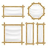Vector bamboo frame with canvas set. Wooden frame made of bamboo sticks tied up with ropes. Bamboo home decoration Royalty Free Stock Photo