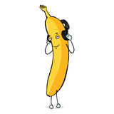 Vector Banana Character with Headphones. On White Background Stock Photos