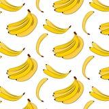Vector banana pattern. Yellow summer plant colorful background. Banana tropical natural fruit print. Food vegan cover Royalty Free Stock Photo