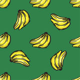 Vector banana seamless pattern. Modern texture. Repeating endless abstract hand drawn background.  Royalty Free Stock Photography