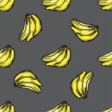Vector banana seamless pattern. Modern texture. Repeating endless abstract hand drawn background.  Stock Photos