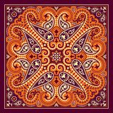 Vector bandana print with paisley ornament. Cotton or silk headscarf, kerchief square pattern design, oriental style Royalty Free Stock Photography