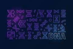Vector a bandeira horizontal colorida do ADN ou a ilustração linear Fotos de Stock Royalty Free