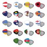 Vector bandeiras abotoam-se, crachá da bandeira, Pin Badge Fotografia de Stock