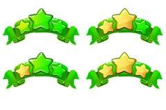 Vector bandeiras completas niveladas da classificação com as estrelas na fita verde Foto de Stock