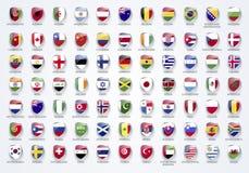 Vector bandeiras da ilustração do mundo no formulário do protetor com nomes ilustração stock