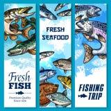 Vector bandeiras da viagem de pesca e da captura de peixes fotos de stock