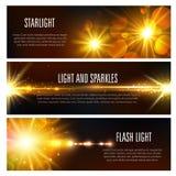 Vector bandeiras do efeito claro do flash e dos sparkles ilustração stock