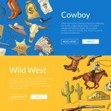 Vector bandeiras ocidentais selvagens da Web do vaqueiro com cavalos, cactos e crânio da vaca ilustração do vetor