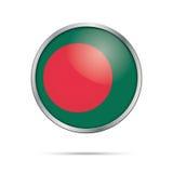 Vector Bangladeshian flag button. Bangladesh flag in glass butto Stock Photos