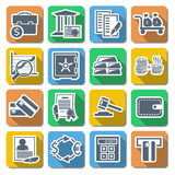Vector Bank Flat Icons. On white background Royalty Free Stock Photo