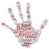 Vector bank fraud payment scam danger hand print. Vector conceptual bank fraud payment scam danger hand print stampword cloud  background. Collage of password Stock Photo