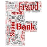 Vector bank fraud payment scam danger letter font F. Vector conceptual bank fraud payment scam danger letter font F word cloud isolated background. Collage of Royalty Free Stock Photography