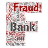 Vector bank fraud payment scam danger letter font F. Vector conceptual bank fraud payment scam danger letter font F word cloud isolated background. Collage of Stock Photos