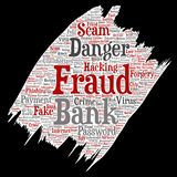 Vector bank fraud payment scam danger paint. Vector conceptual bank fraud payment scam danger paint brush paper word cloud isolated background. Collage of Royalty Free Stock Photo