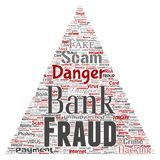 Vector bank fraud payment scam danger triangle. Vector conceptual bank fraud payment scam danger triangle arrow word cloud isolated background. Collage of Royalty Free Stock Photo