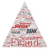 Vector bank fraud payment scam danger triangle. Vector conceptual bank fraud payment scam danger triangle arrow word cloud isolated background. Collage of Stock Photo