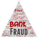 Vector bank fraud payment scam danger. Vector conceptual bank fraud payment scam danger triangle arrow word cloud isolated background. Collage of password Royalty Free Stock Images
