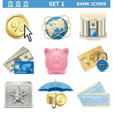 Vector Bank Icons Set 1. On white background Stock Photography