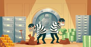Vector bank vault robbery by thieves, criminals. Vector cartoon illustration of bank robbery in safety vault. Two thieves stealing gold, cash, currency vector illustration