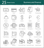Vector banking, electronic commerce, finance and business linear. Icons set Stock Images
