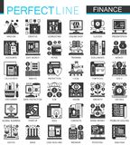 Vector Banking and finance black mini concept icons and infographic symbols set. Vector Banking and finance black mini concept icons and infographic symbols set Royalty Free Stock Image