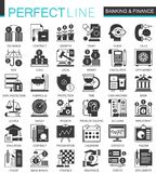 Vector Banking and finance classic black mini concept icons and infographic symbols set. Vector Banking and finance classic black mini concept icons and Stock Photography
