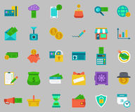 Vector banking Icons set - pay and receive money. Royalty Free Stock Images