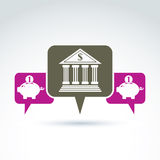 Vector banking symbol, financial institution icon. Speech bubble. S with bank building and pink piggybank illustrations. Personal deposits concept Royalty Free Stock Image