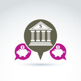 Vector banking symbol, financial institution icon. Speech bubble. S with bank building and pink piggybank illustrations. Personal deposits concept Stock Photos