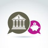Vector banking symbol, financial institution icon. Speech bubble. S with bank building and pink piggybank illustrations. Chat on personal savings idea Stock Images