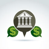 Vector banking symbol, financial institution icon. Speech bubbles with bank building and dollar currency. Banking service concept Stock Photos